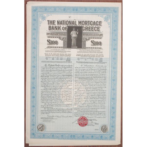 National Mortgage Bank of Greece 1930 Specimen Bond