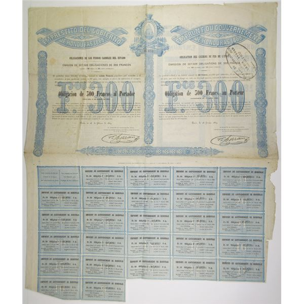 Government of Honduras Loan for Railroads, 1869 I/U Bond