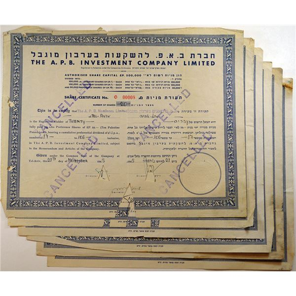 A.P.B. Investment Co. Ltd., 1945-1947, Cancelled Stock Certificates.