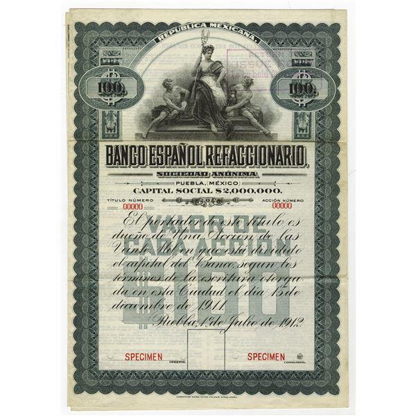 Banco Espanol Refaccionario, 1912 Specimen Share Certificate.