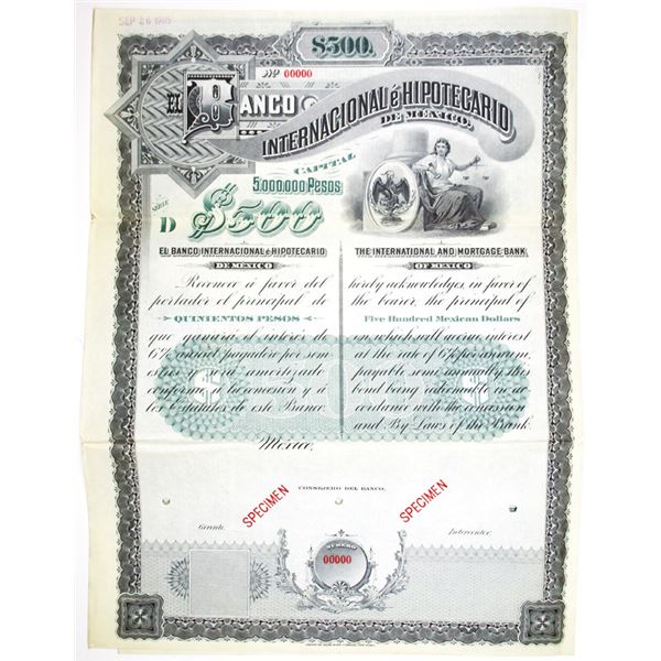 Banco Internacional e Hipotecario de Mexico 1905 Specimen Bond