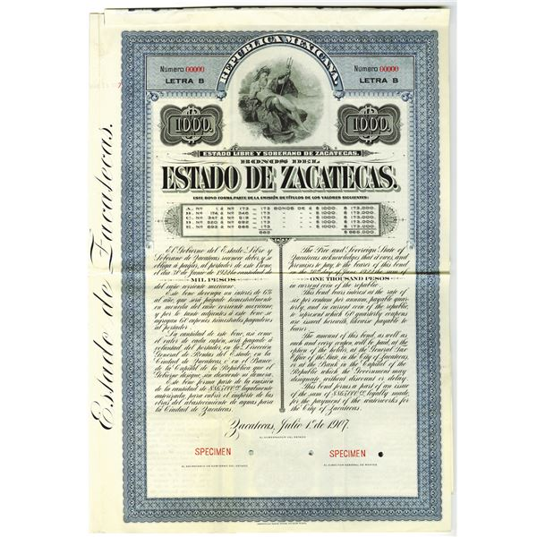 Estado de Zacatecas, 1907 Specimen Bond.