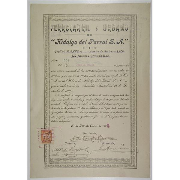 Ferrocarril & Urbbano de Hidalgo del Parral S.A., 1908 I/U Bond
