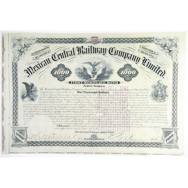 Mexican Central Railway Co. Ltd., 1881 I/U Bond