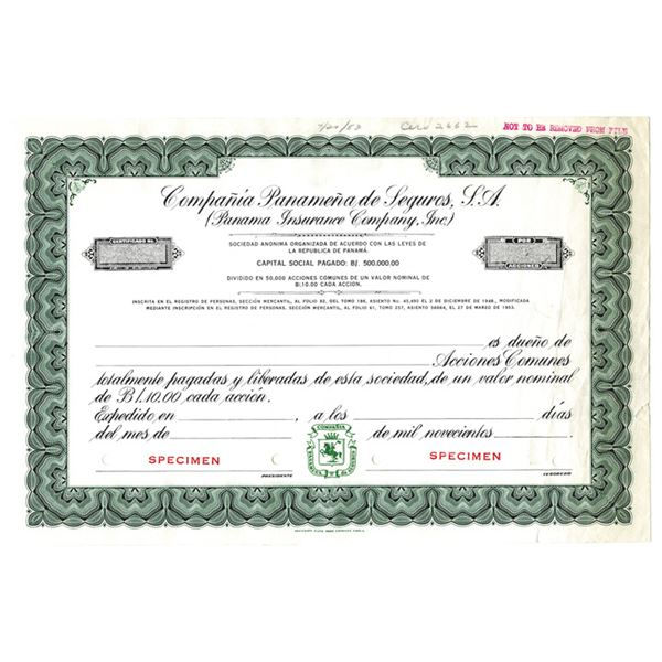 Panama Insurance Co., Inc. 1953 Specimen Stock Certificate