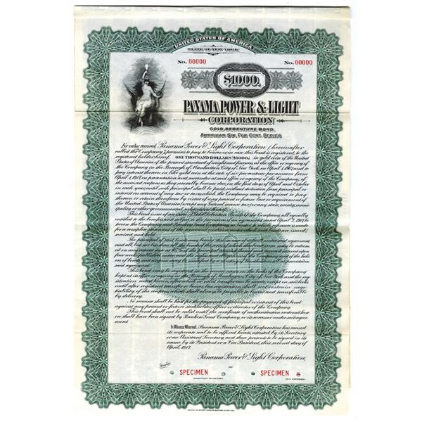 Panama Power & Light Corp., 1917 Specimen Bond