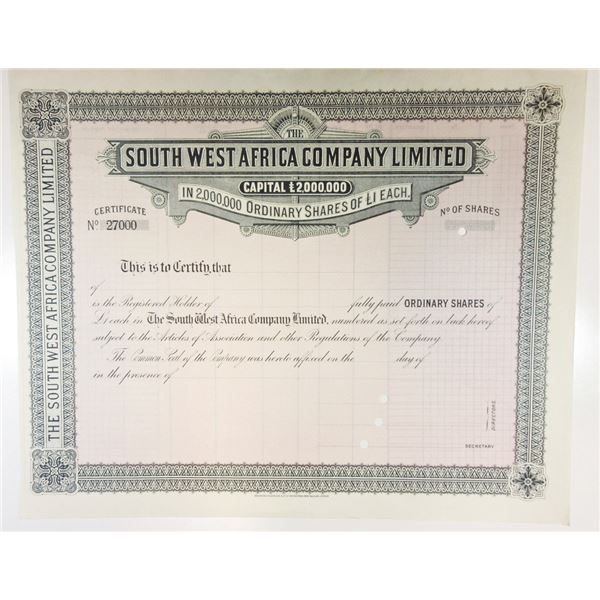 South West Africa Co. Ltd. 1940 Specimen Stock Certificate from Bradbury Archives.