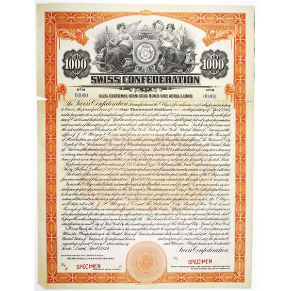 Swiss Confederation 1924 Specimen Bond Rarity