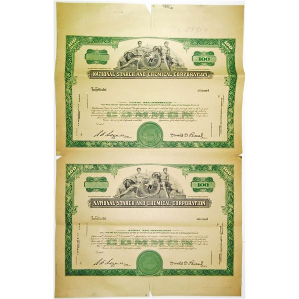 National Starch and Chemical Corp., ca.1950-60's Uncut Sheet of 2 Proof Stock Certificates.