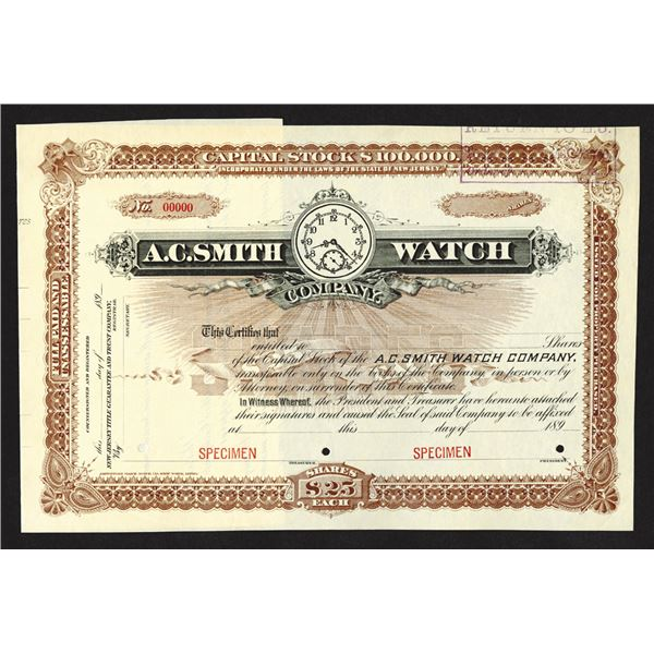 A.C. Smith Watch Co. 1890's Specimen Stock Certificate.