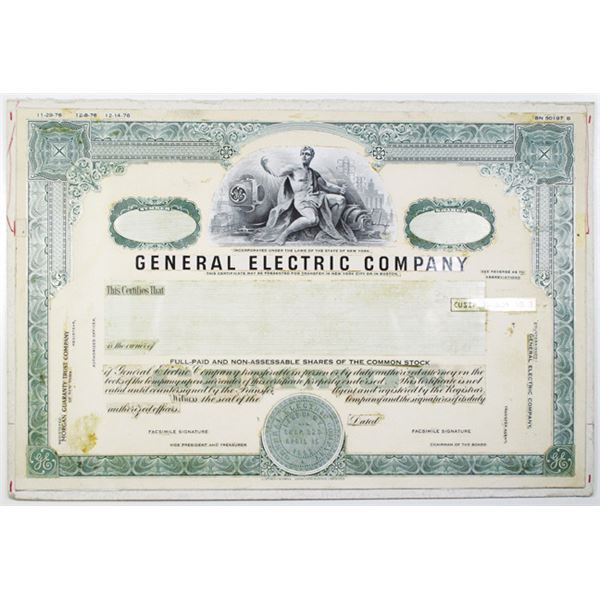 General Electric Co. 1976 Unique Proof Design Mockup Stock Certificate.