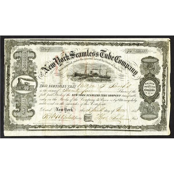 New York Seamless Tube Co., 1858 I/U Stock Certificate.