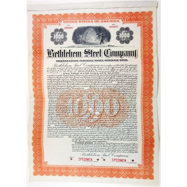 Bethlehem Steel Co., 1919 Specimen Bond