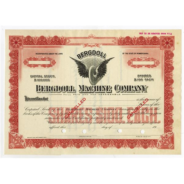 Bergdoll Machine Co., ca. 1900-1920 Specimen Stock Certificate
