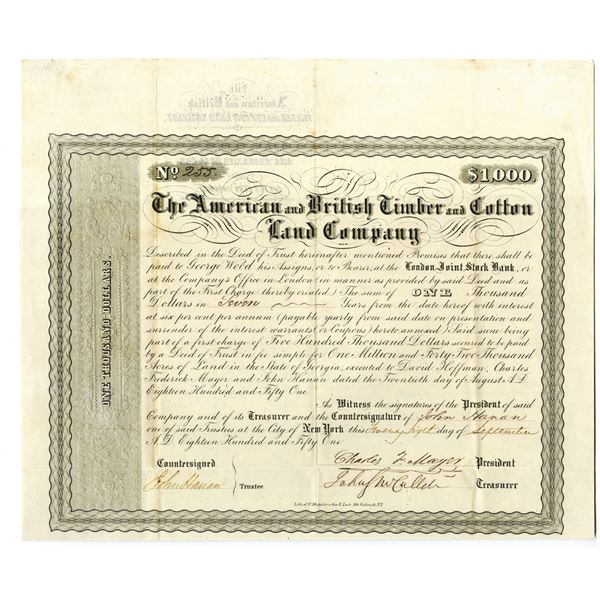 American and British Timber and Cotton Land Co. 1851 I/U Bond