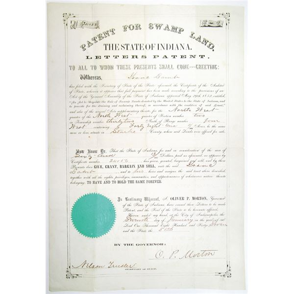 State of Indiana, 1867 Patent for Swamp Land Signed by Governor Oliver P. Morton