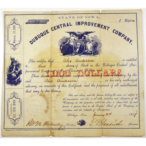 Dubuque Central Improvement Co. 1857 I/U Stock Certificate