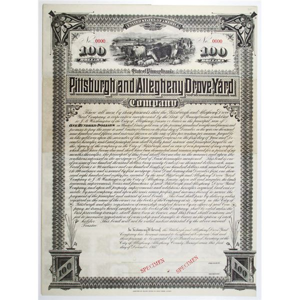 Pittsburgh and Allegheny Drove Yard Co. 1885 Specimen Bond