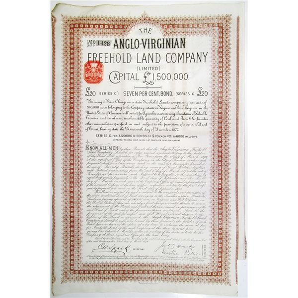 Anglo-Virginian Freehold Land Co. Ltd. 1879 I/U Bond