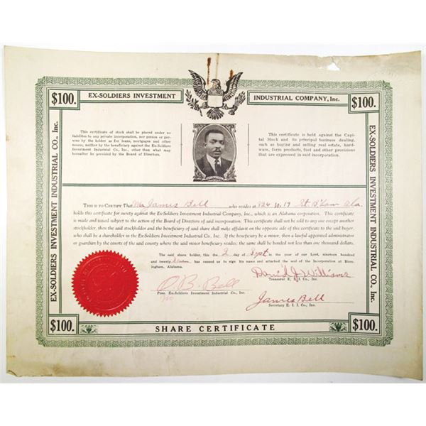 Ex-Soldiers Investment Industrial Co., Inc. 1927 I/U Share Certificate
