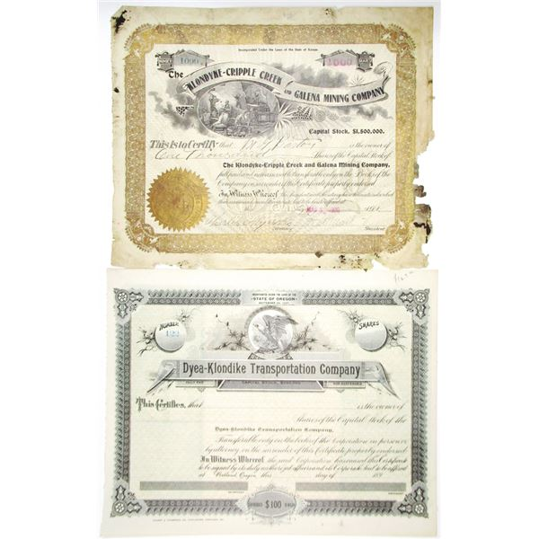 Dyea-Klondike Transportation Co. & Klondyke-Cripple Creek and Galena Mining Co. 1900 Stock Certifica