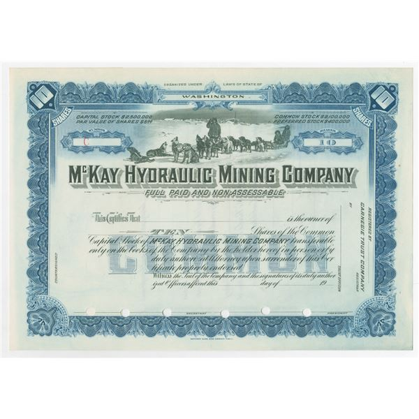 McKay Hydraulic Mining Co., 1900-1920 Specimen Stock Certificate, Alaska Mining Related Company.