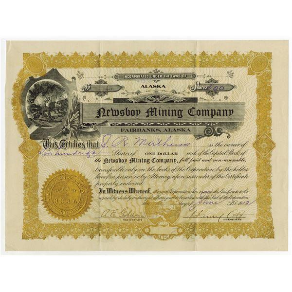 Newsboy Mining Co. 1912 Stock Certificate
