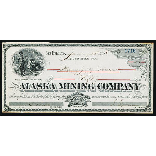 Alaska Mining Co. 1886 Stock Certificate.