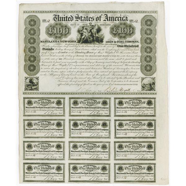 Maryland & New York Iron & Coal Co., 1840 I/U Bond