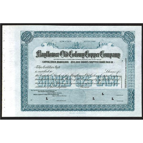 Mayflower-Old Colony Copper Company, ND (ca. 1900-1920) Specimen Stock Certificate
