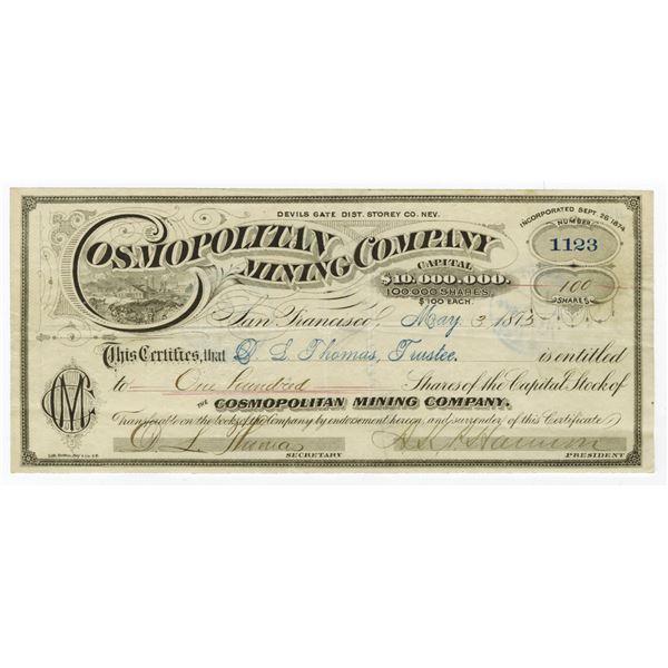 Cosmopolitan Mining Co., 1875 I/U stock Certificate.