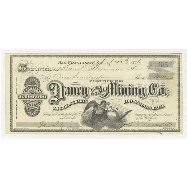 Daney Gold & Silver Mining Co., 1876 I/U stock certificate.