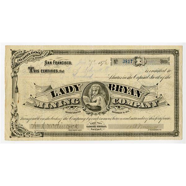 Lady Bryan Mining Co., 1876 /U Stock Certificate.