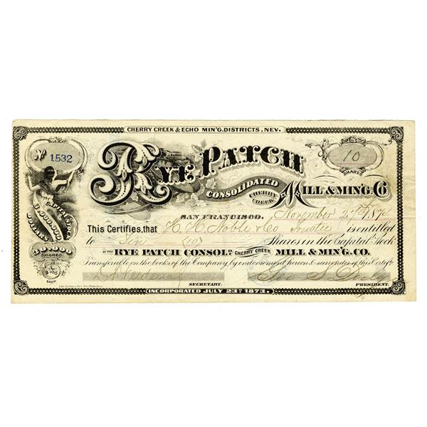 Rye Patch Consolidated Mill & Mining Co., 1874 I/U stock certificate.