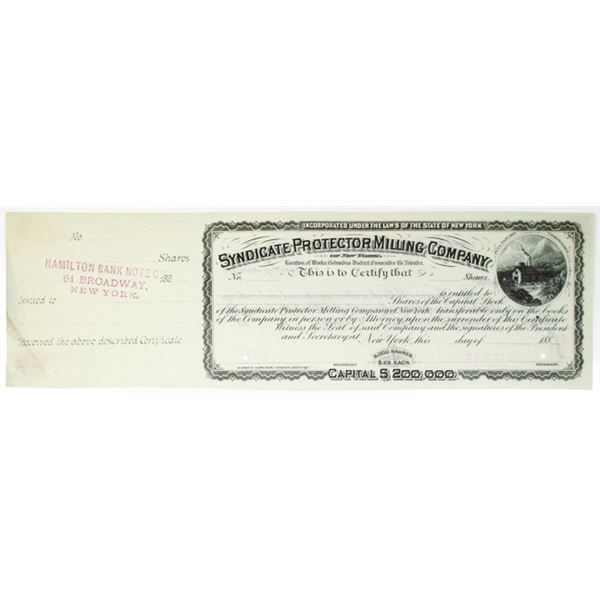Syndicate Protector Milling Co. 1880s Specimen Stock Certificate