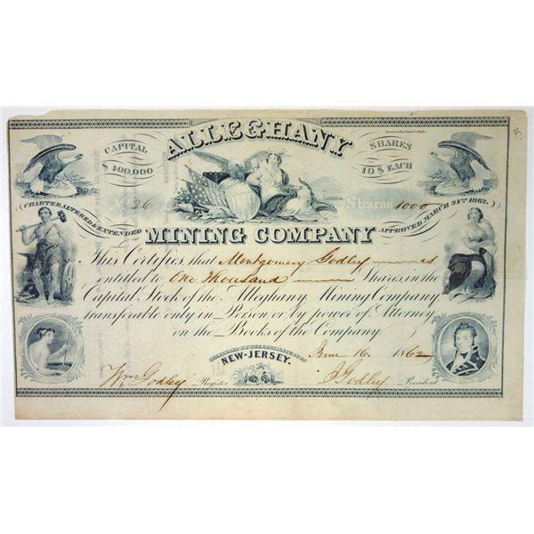 Alleghany Mining Co., 1862 I/U Stock Certificate.