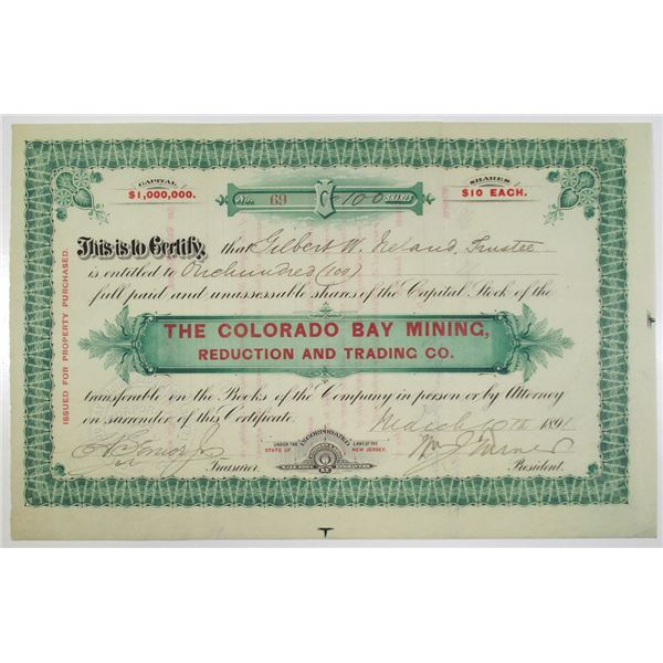 Colorado Bay Mining, Reduction and Trading Co. 1891 Stock Certificate