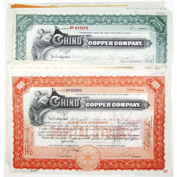 Chino Copper Co. I/C Stock Certificate Group of 18, ca. 1911-17