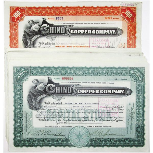 Chino Copper Co. I/C Stock Certificate Group of 19, ca. 1911-17