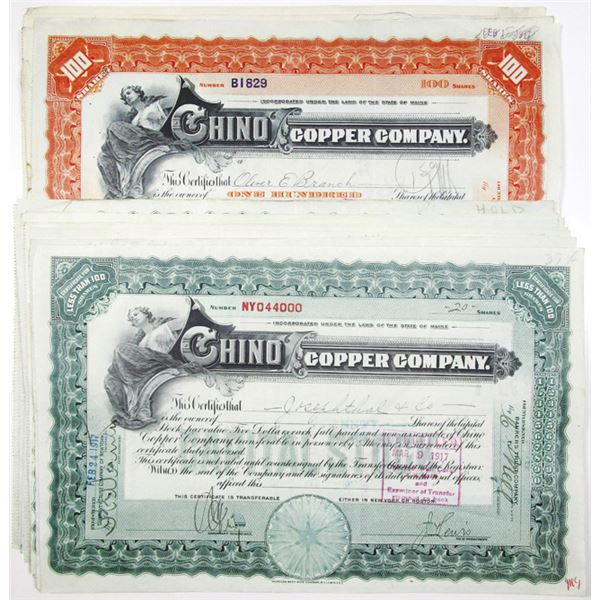 Chino Copper Co. I/C Stock Certificate Group of 20, ca. 1912-17