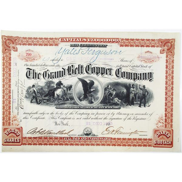 Grand Belt Copper Co. 1885 I/U Stock Certificate With Company Established by George McLellan.