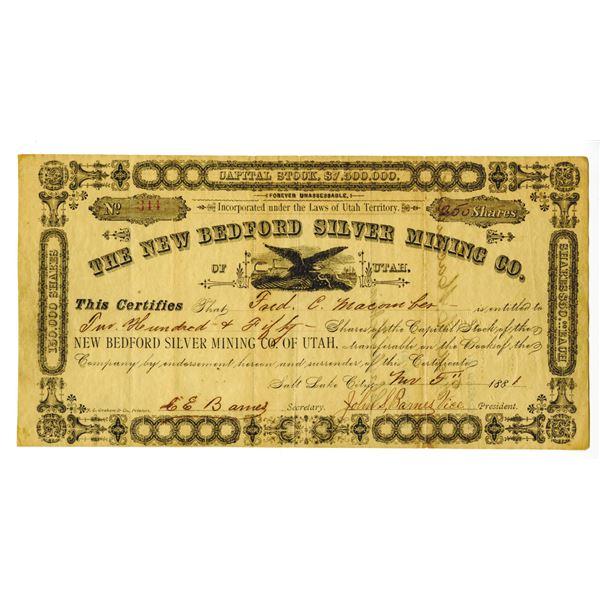 New Bedford Silver Mining  Co. of Utah, 1881 I/U Stock Certificate.