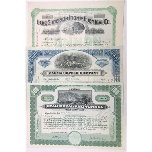 Mining Related Stock Certificate Assortment, ca.1928-1958