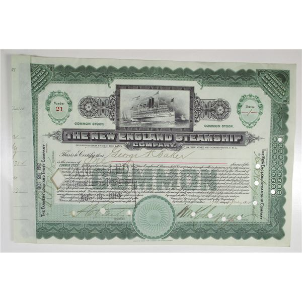 New England Steamship Co. 1912 Issued Stock Certificate, Fall River Line