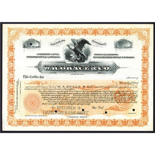 W.R. Grace & Co., 1890-1900 Specimen Stock Certificate.