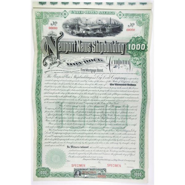 Newport News Shipbuilding and Dry Dock Co. 1890 Specimen Bond