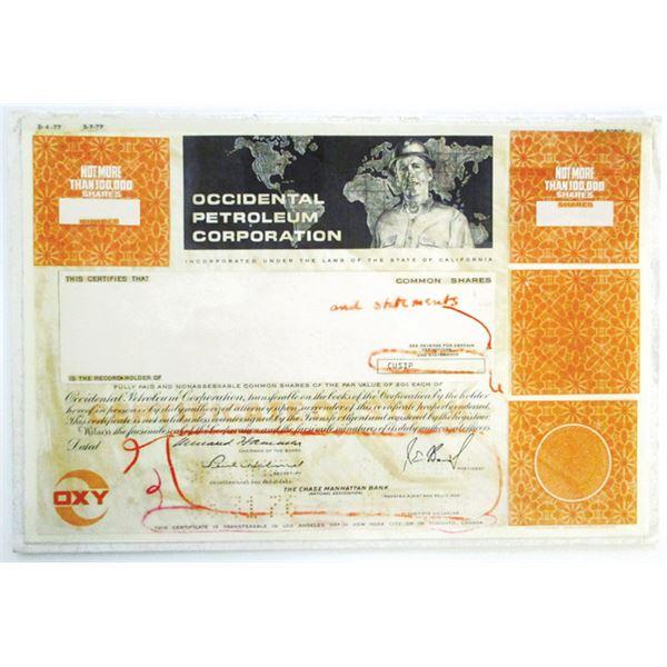 Occidental Petroleum Corp., 1977 Unique Production Department Mockup of Stock Certificate