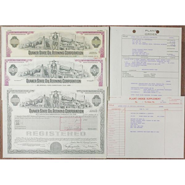 Quaker State Oil Refining Corp. 1983 Unique Proof Mockup Bond & Production Materials Group