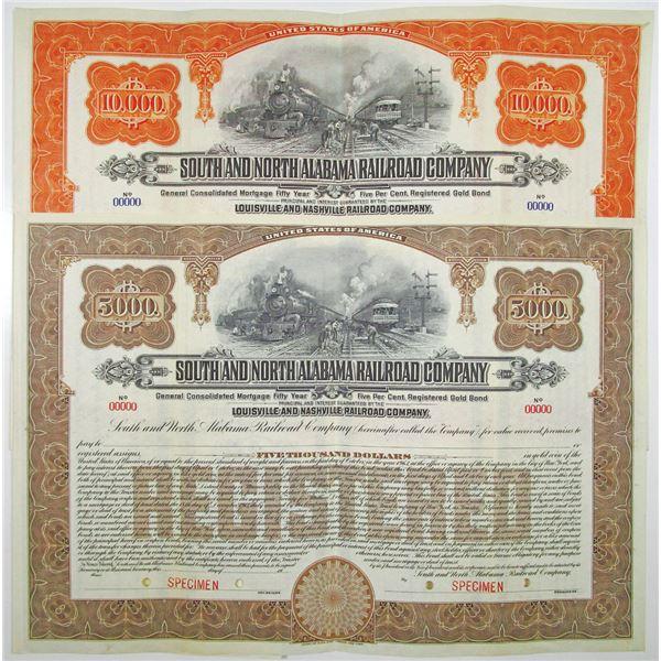 South and North Alabama Railroad Co. 1913 Specimen Bond Pair