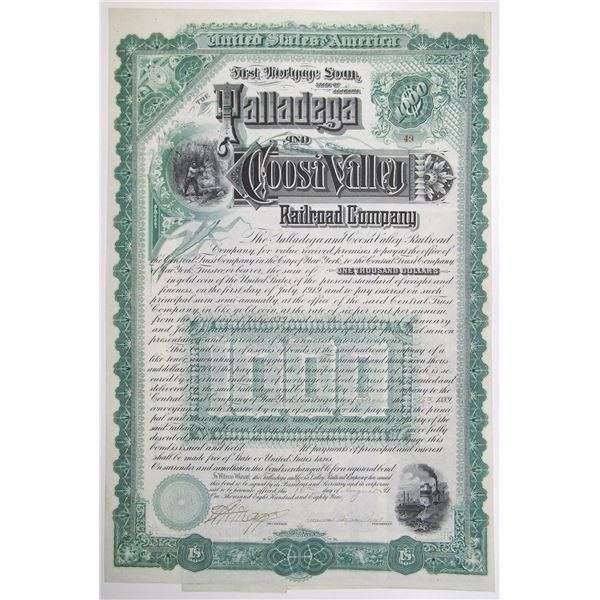 Talladega and Coosa Valley Railroad Co. 1889 I/U Bond